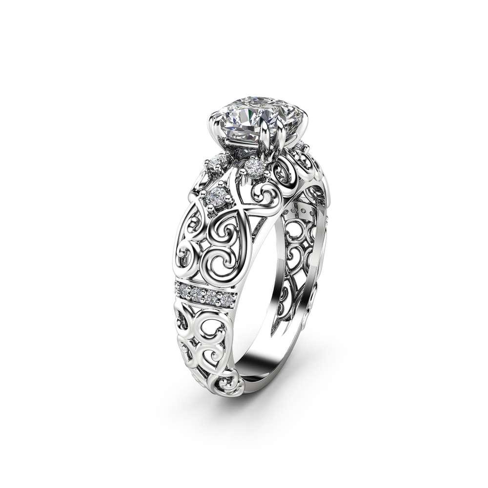Cushion Moissanite Engagement Ring 14K White Gold Victorian Ring Unique Moissanite Engagement Ring Gift for Her