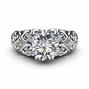 Round Moissanite Engagement Ring 14K White Gold Victorian Ring Unique Moissanite Engagement Ring Gift for Her