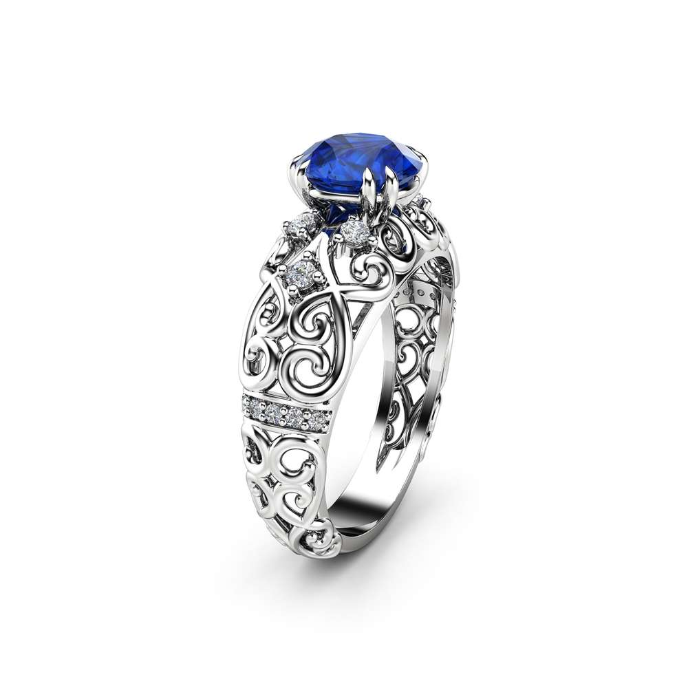 Round Sapphire Engagement Ring 14K White Gold Victorian Ring Unique Sapphire Engagement Ring Gift for Her