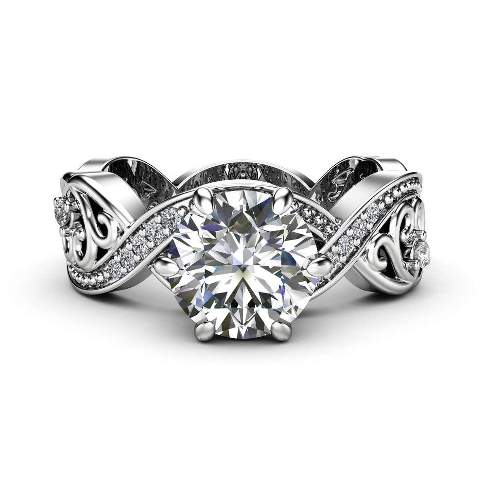 Filigree Moissanite Engagement Ring 14K White Gold Swirl Ring