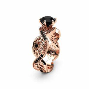 Black Diamond Filigree Engagement Ring 14K Rose Gold Ring Unique Swirl Ring