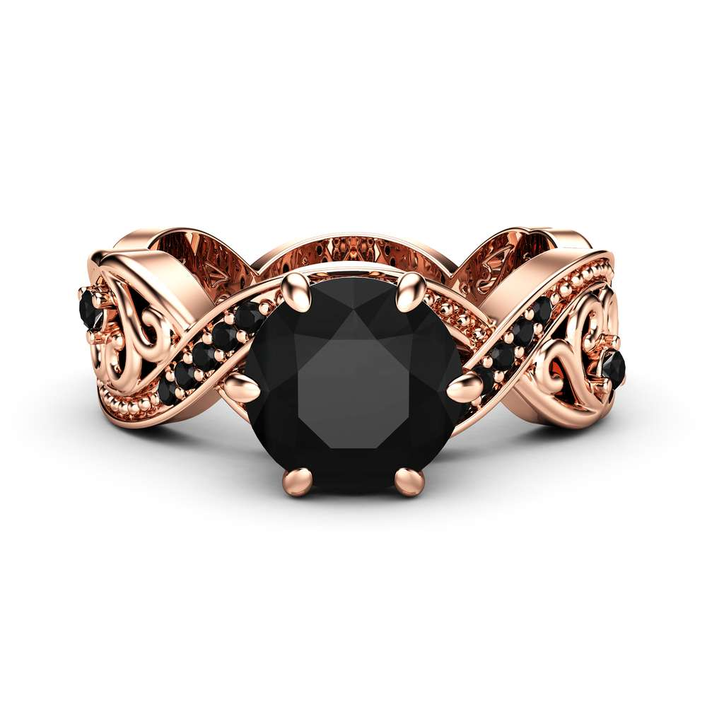 Black Diamond Filigree Engagement Ring 14K Rose Gold Ring Unique Swirl Ring