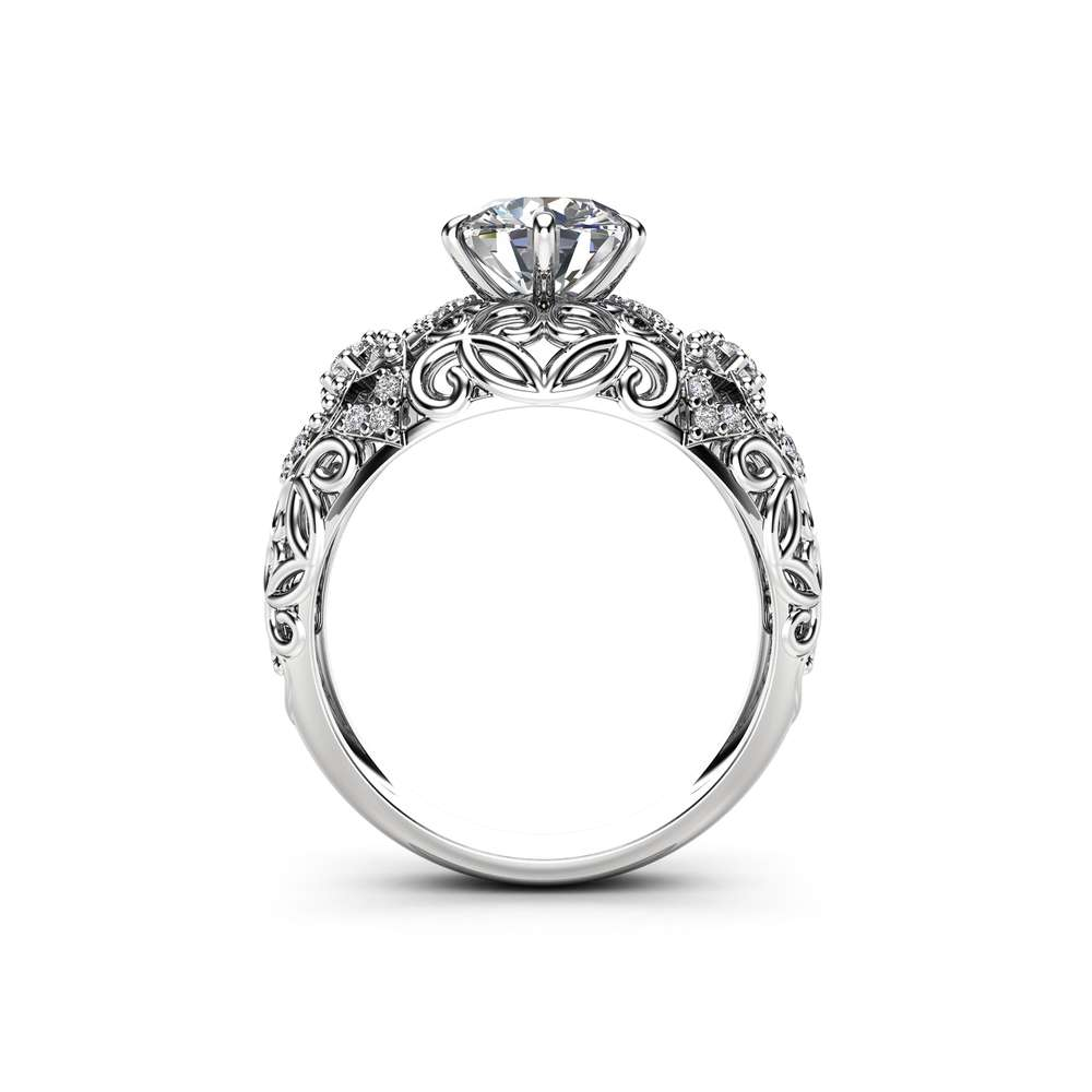 Unique Filigree Engagement Ring 14K White Gold Filigree Ring Unique Moissanite Engagement Ring Gift for Her