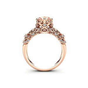 Cushion Morganite Engagement Ring 14K Rose Gold Victorian Ring Unique Morganite Engagement Ring Gift for Her
