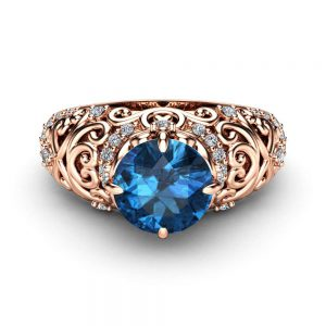 Blue Diamond Vintage Engagement Ring 14K Rose Gold Vintage Ring Blue Diamond Engagement Ring