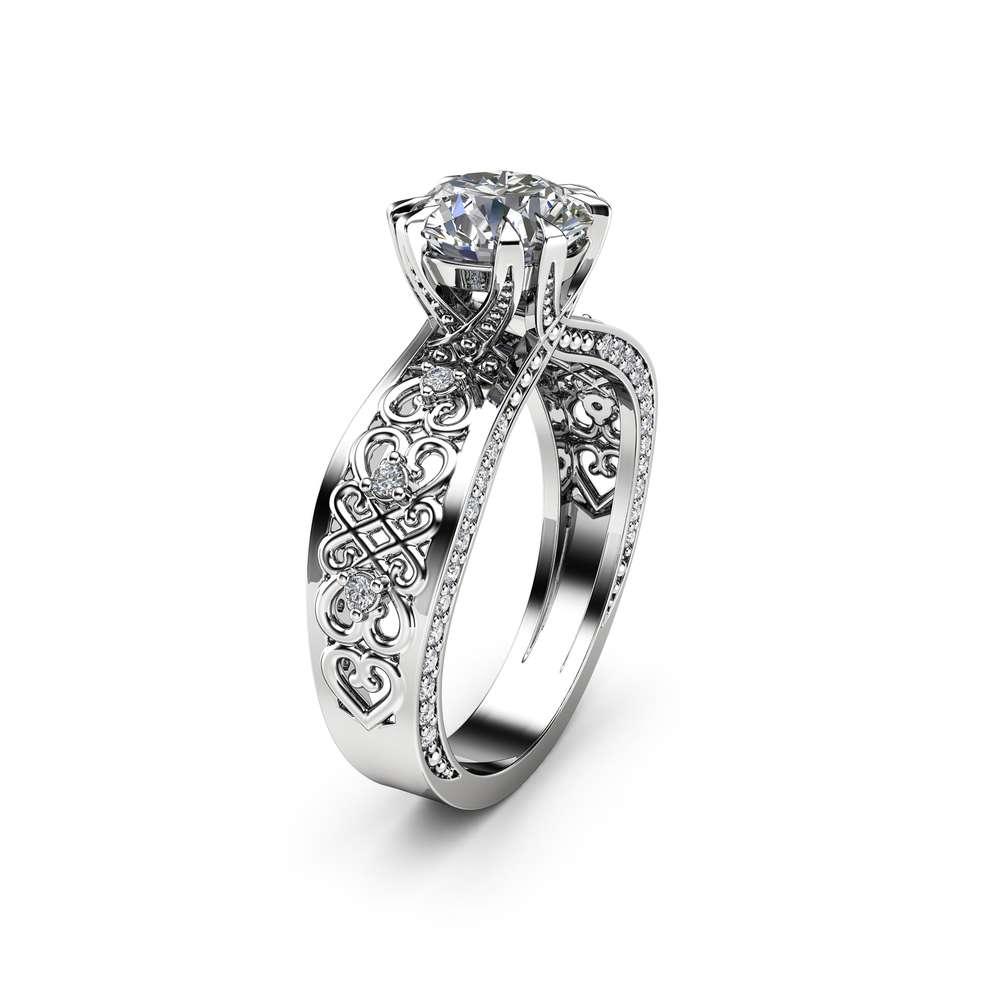 Unique Victorian Filigree Moissanite Engagement Ring 14K White Gold Ring Diamonds Engagement Ring