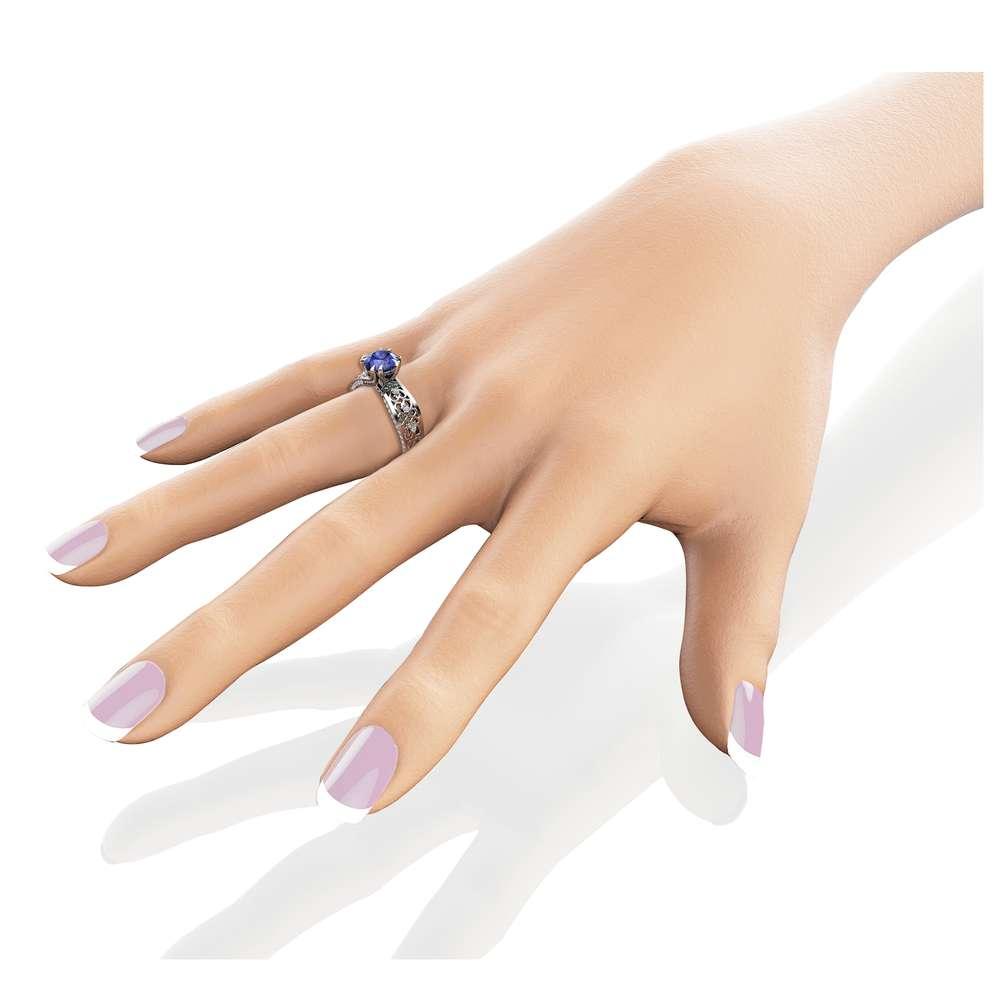 Victorian Filigree Tanzanite Engagement Ring Unique Natural Tanzanite 14K White Gold Engagement Ring