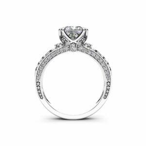 Princess Moissanite Engagement Ring 14K White Gold Vintage Ring Charles Colvard Moissanite Engagement Ring