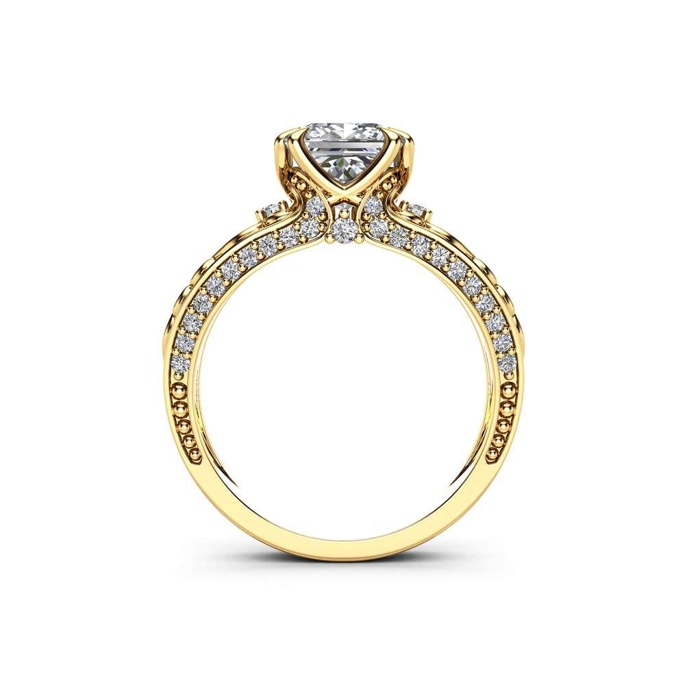 Princess Moissanite Engagement Ring 14K Yellow Gold Vintage Ring Charles Colvard Moissanite Engagement Ring