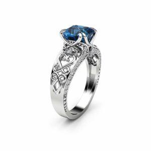 Princess Topaz Engagement Ring 14K White Gold Vintage Ring Square Topaz Engagement Ring
