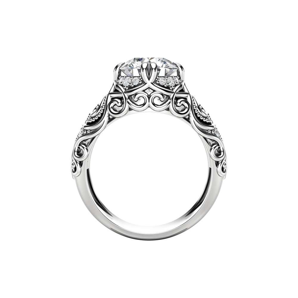 Moissanite Engagement Ring 14K White Gold Ring Vintage Engagement Ring