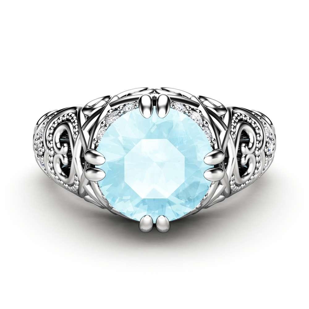 Aquamarine Engagement Ring 14K White Gold Ring Vintage Engagement Ring