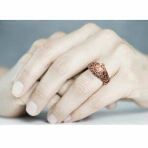 Morganite Engagement Ring 14K Rose Gold Ring Vintage Engagement Ring