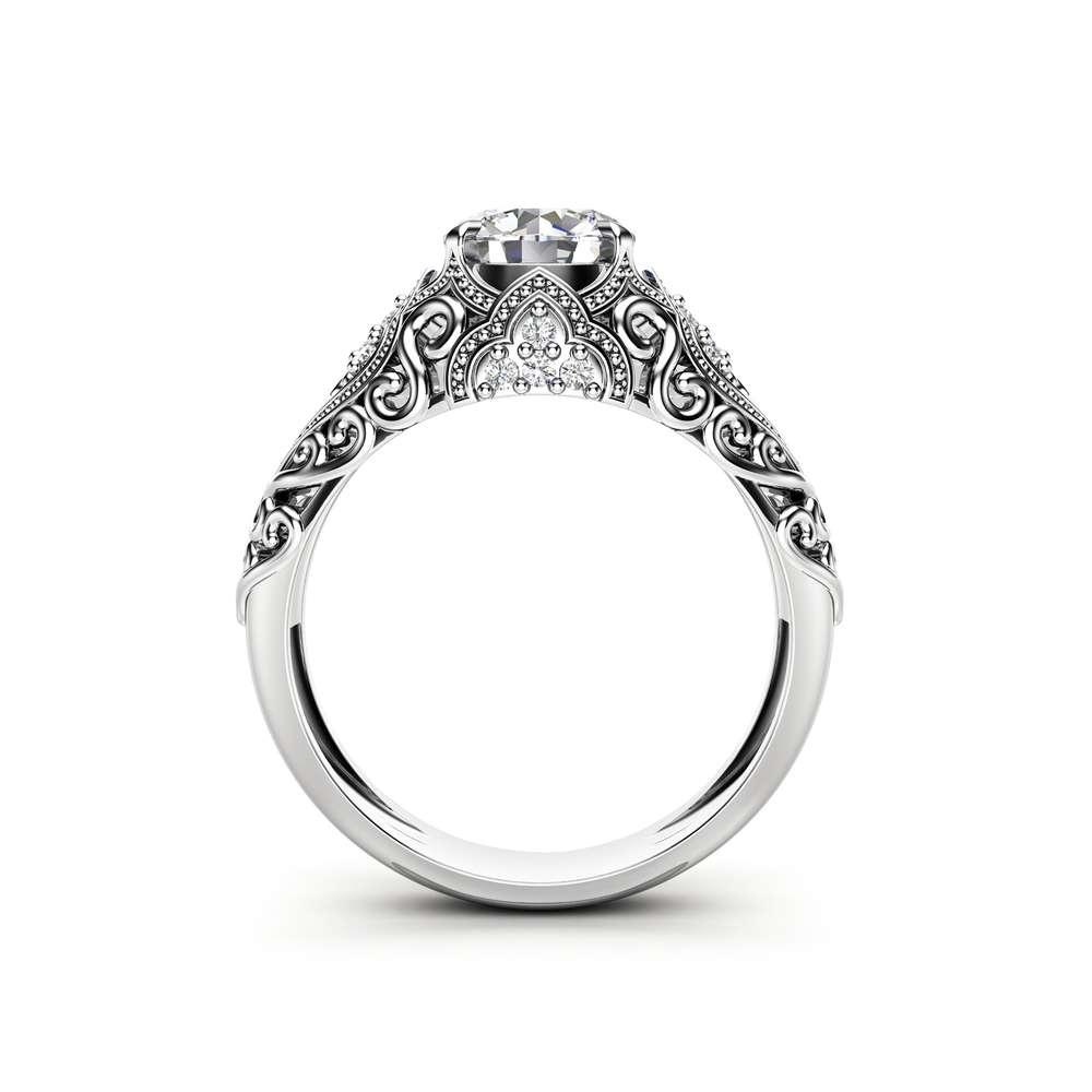 Art Deco Engagement Ring 14K White Gold Ring Moissanite Engagement Ring