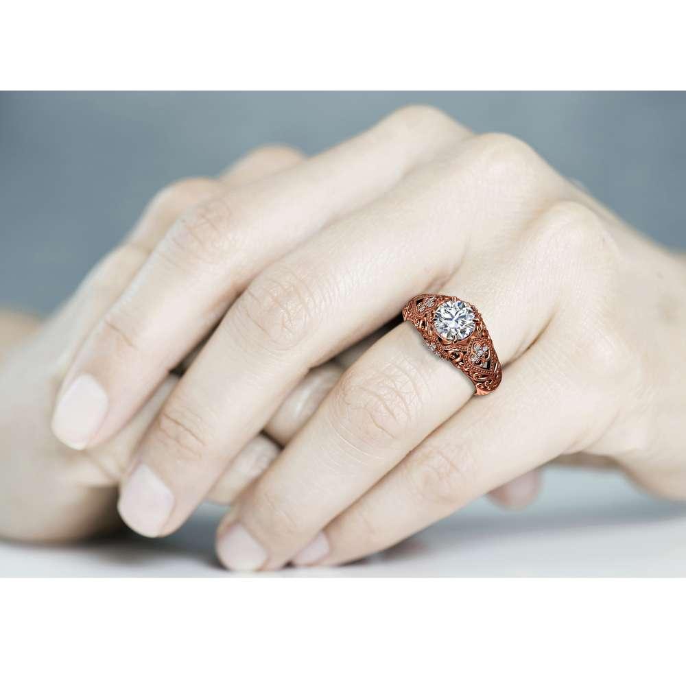 Art Deco Engagement Ring 14K Rose Gold Ring Moissanite Engagement Ring