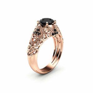 Art Deco Engagement Ring 14K Rose Gold Ring Black Diamond Engagement Ring