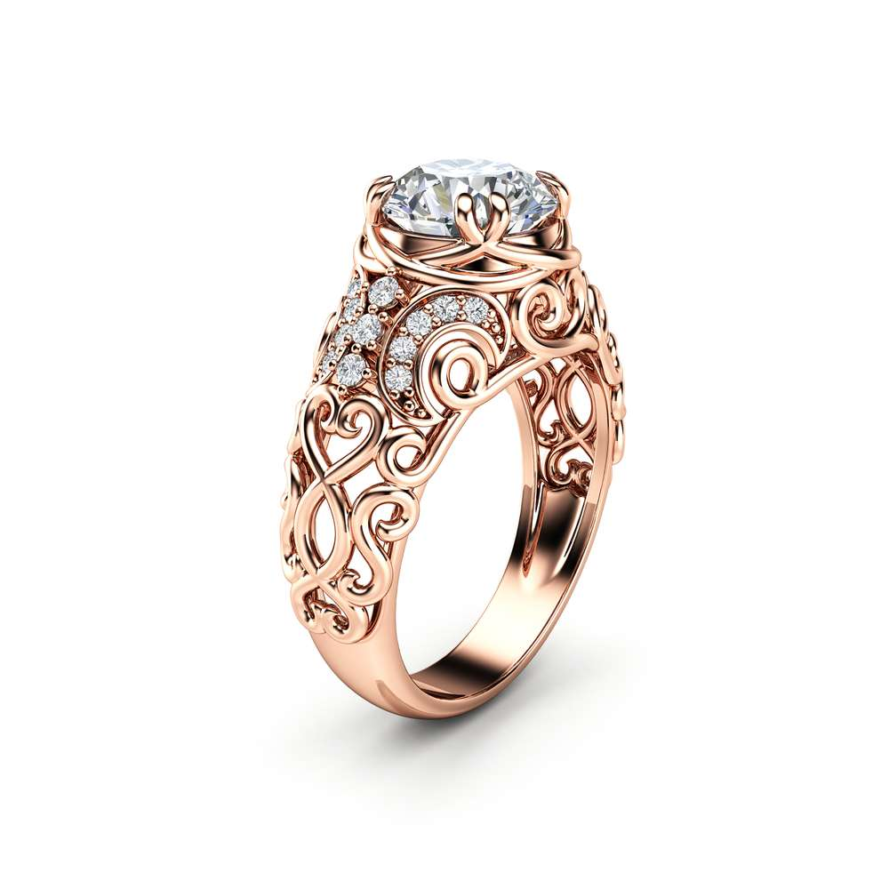 Vintage Engagement Ring 14K Rose Gold Ring Filigree Ring Moissanite Engagement Ring