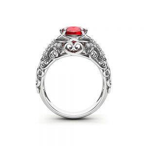 Unique Ruby Engagement Ring 14K White Gold Ring Ruby Anniversary Ring Vintage Engagement Ring