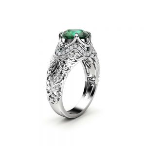 Art Deco Engagement Ring 14K White Gold Ring Emerald Engagement Ring