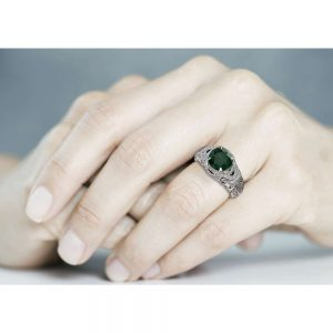 Art Deco Engagement Ring 14K White Gold Ring Emerald Engagement Ring