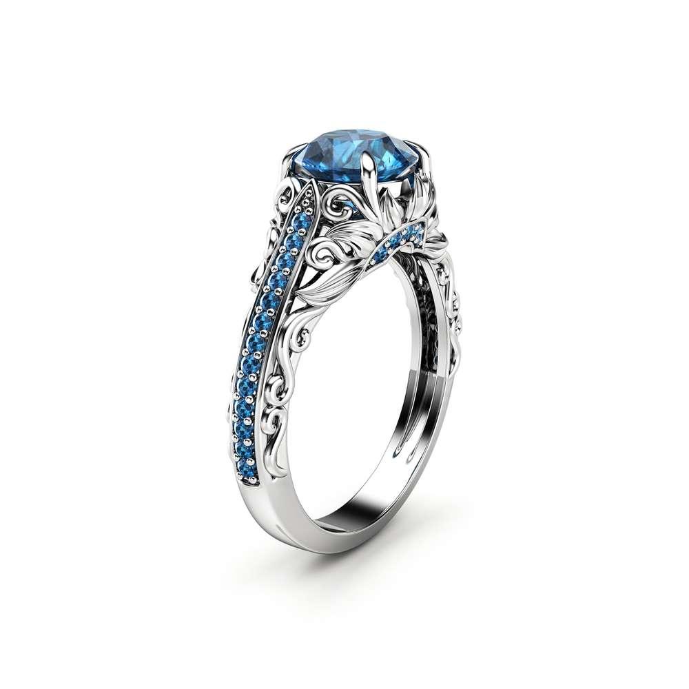 Blue Diamond Engagement Ring White Gold Ring Filigree Ring Diamonds Engagement Ring