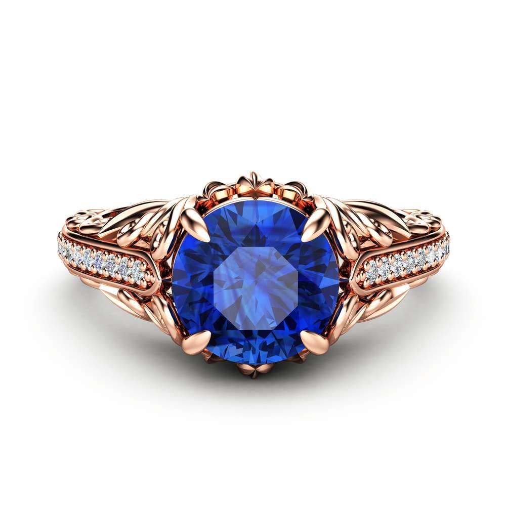 Blue Sapphire Engagement Ring Diamonds Ring 14K Rose Gold Ring September Birthstone
