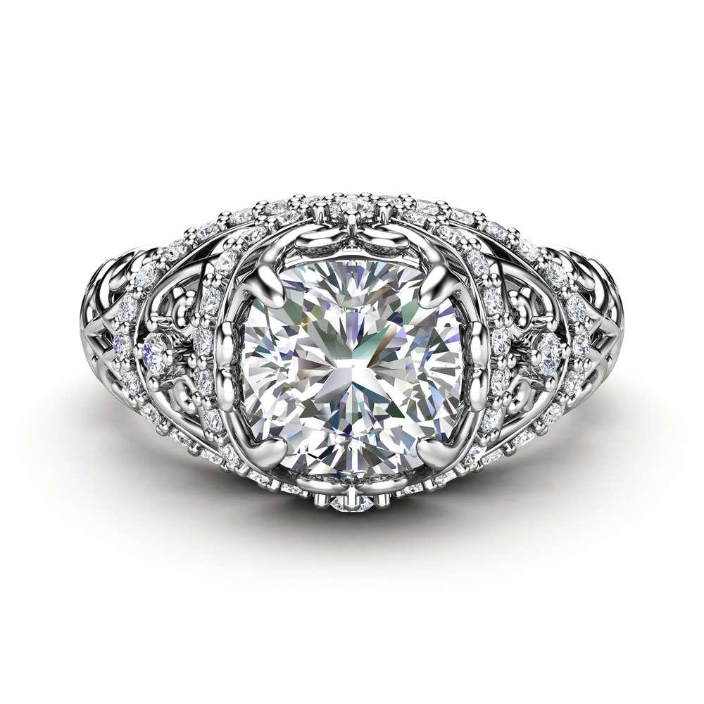 Unique Engagement Ring 14K White Gold Ring Moissanite Engagement Ring