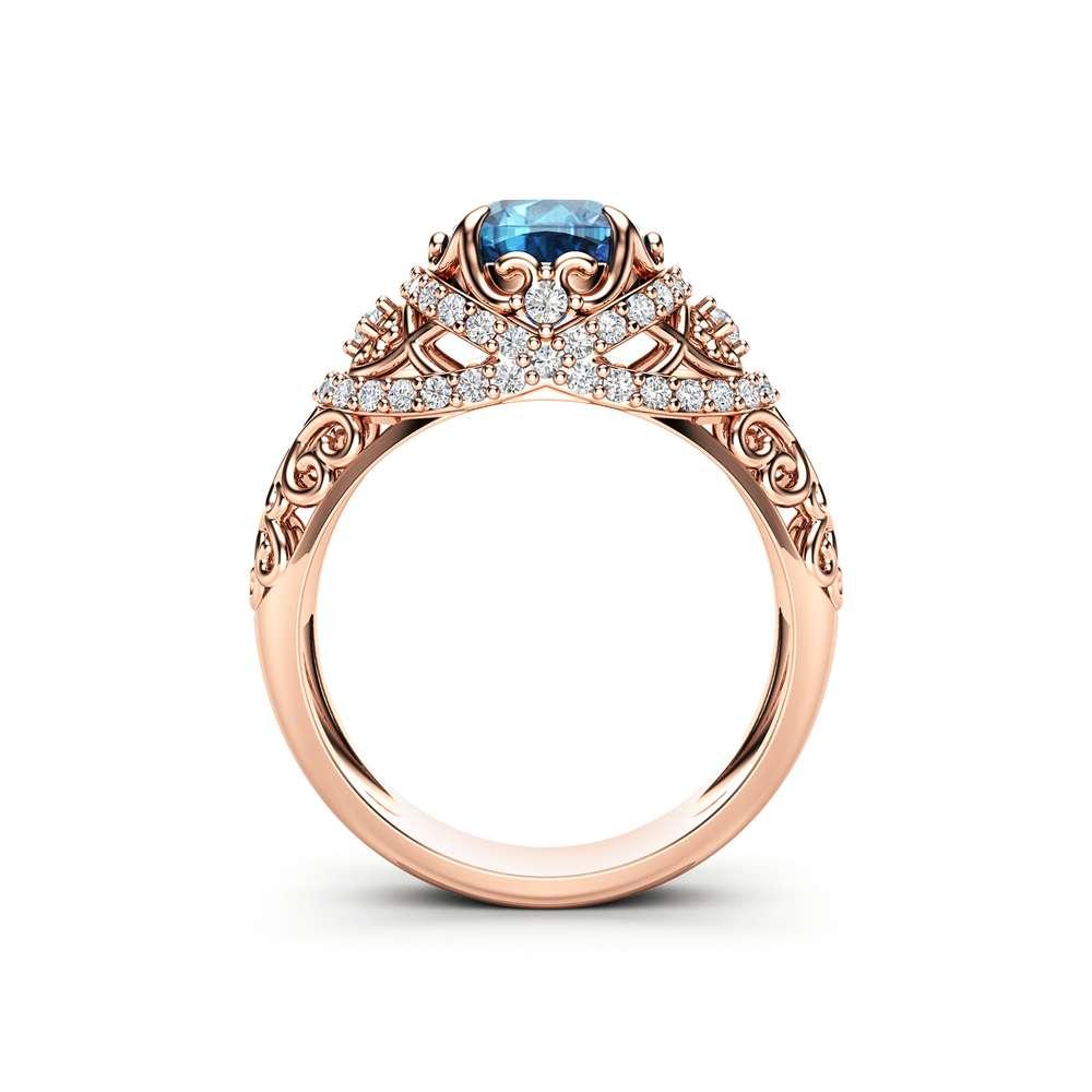 Unique Engagement Ring 14K Rose Gold Ring Topaz Engagement Ring