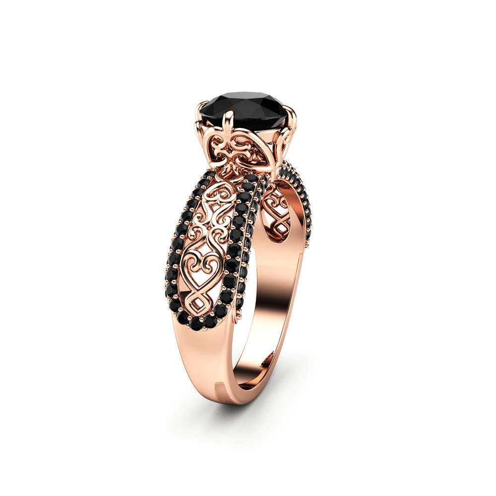 Black Diamond Engagement Ring Unique 14K Rose Gold Ring Art Deco Engagement Ring