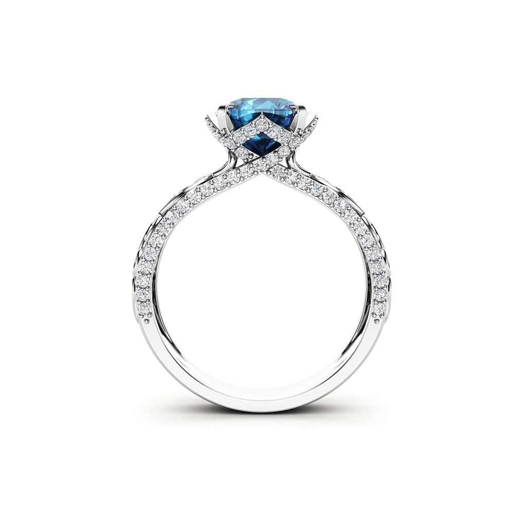 Moissanite Engagement Ring Unique 14K White Gold Ring Art Deco Engagement Ring