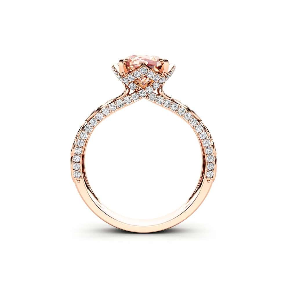 Cushion Cut Morganite Engagement Ring 14K Rose Gold Unique Art Deco Engagement Ring