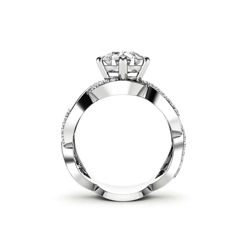 Unique Engagement Ring Unique 14K White Gold Ring Moissanite Engagement Ring