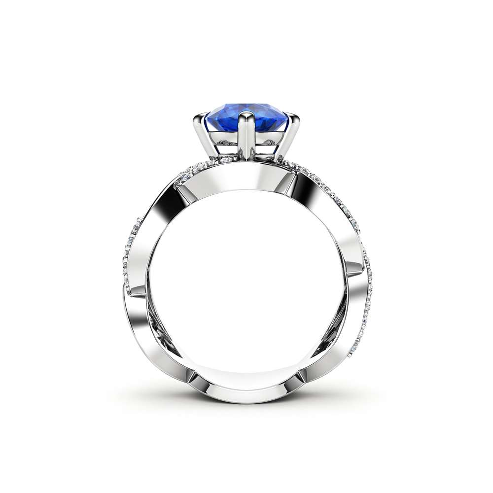 Blue Sapphire Engagement Ring 14K White Gold Ring Unique Engagement Ring