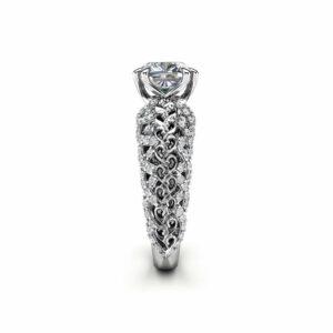 Moissanite Engagement Ring Unique Engagement Ring Unique 14K White Gold Ring