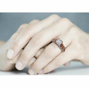 Moissanite Engagement Ring 14K Rose Gold Ring  Unique Engagement Ring