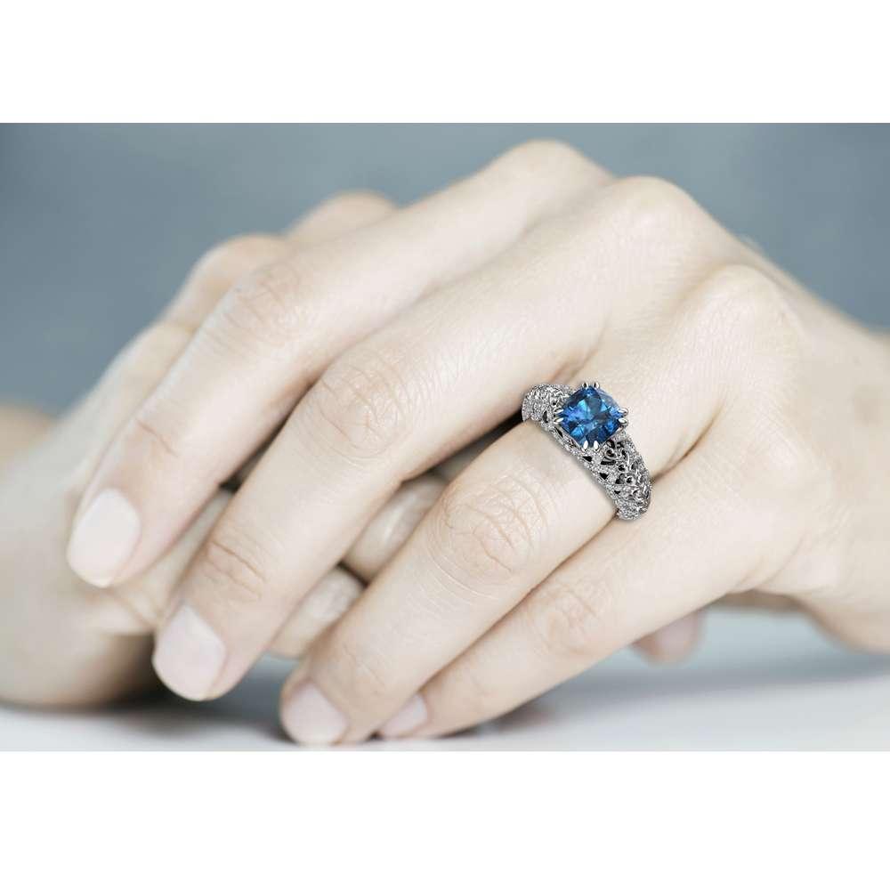 Topaz Engagement Ring Unique Engagement Ring 14K White Gold Ring