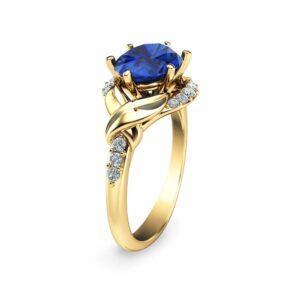 Unique Blue Sapphire Engagement Ring 14K Yellow Gold Blue Sapphire Engagement Ring
