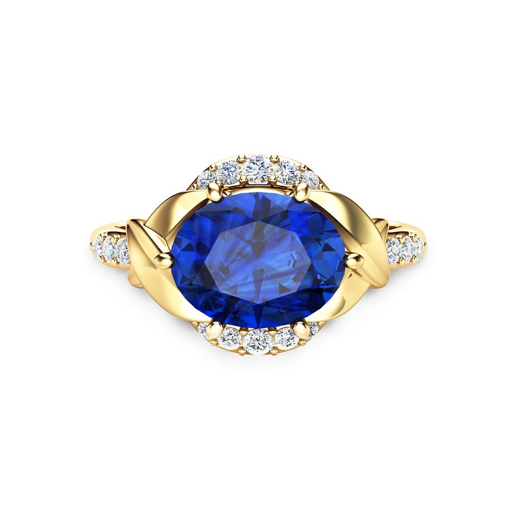 Unique Blue Sapphire Engagement Ring 14K Yellow Gold Blue Sapphire Engagement Ring