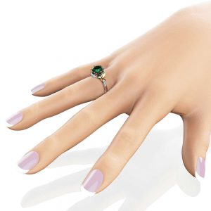 14K Two Tone Gold Emerald Engagement Ring Wedding Leaf Band Unique 2Ct Emerald Engagement Ring
