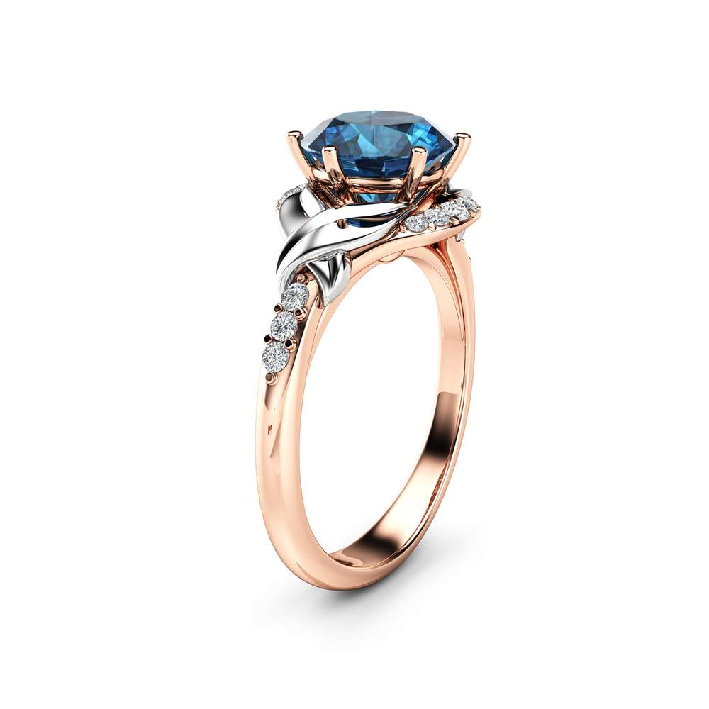Topaz Engagement Ring Unique Wedding Ring 14K Rose Gold Ring Blue Topaz Ring