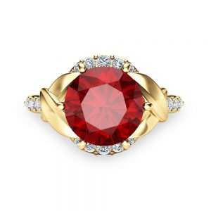 2ct Ruby Engagement Ring 14K Yellow Gold Engagement Ring Natural Ruby Ring
