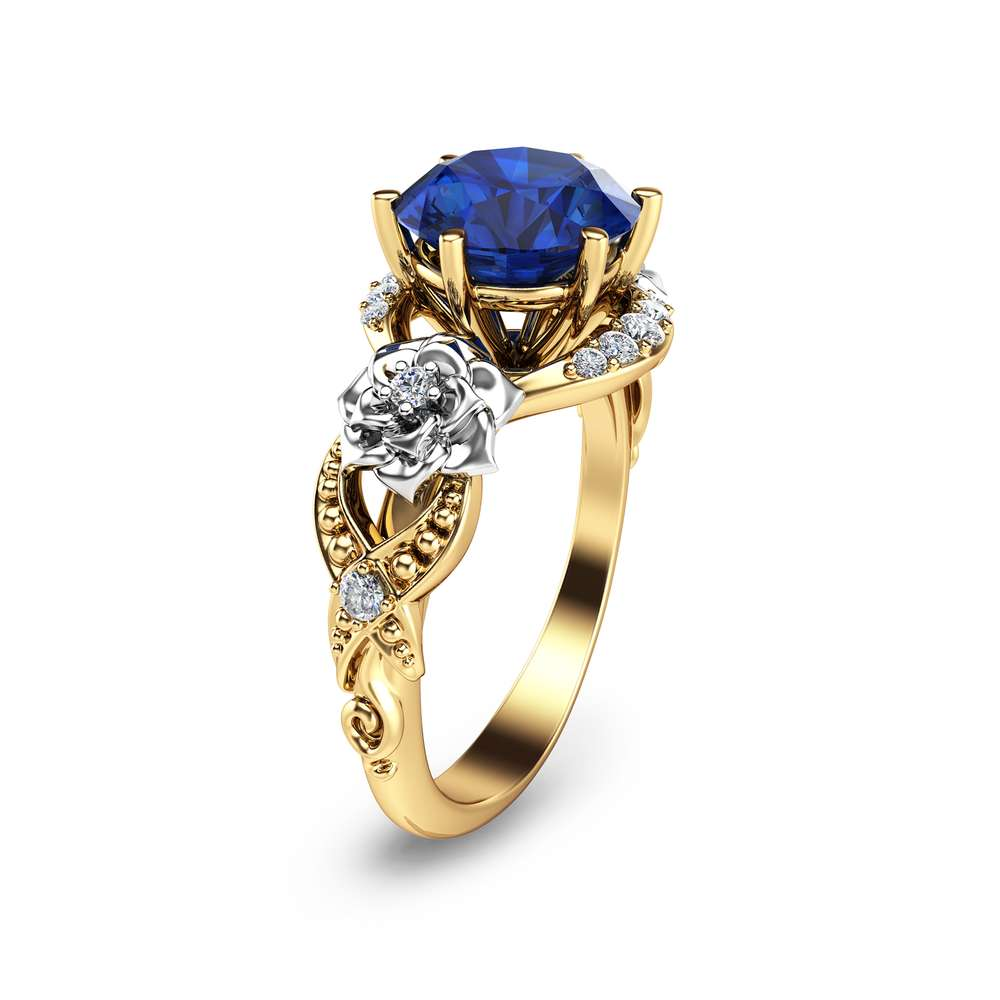 14K Yellow Gold Blue Sapphire Engagement Ring Blue Sapphire Ring Unique Engagement Ring Art Deco Sapphire Ring