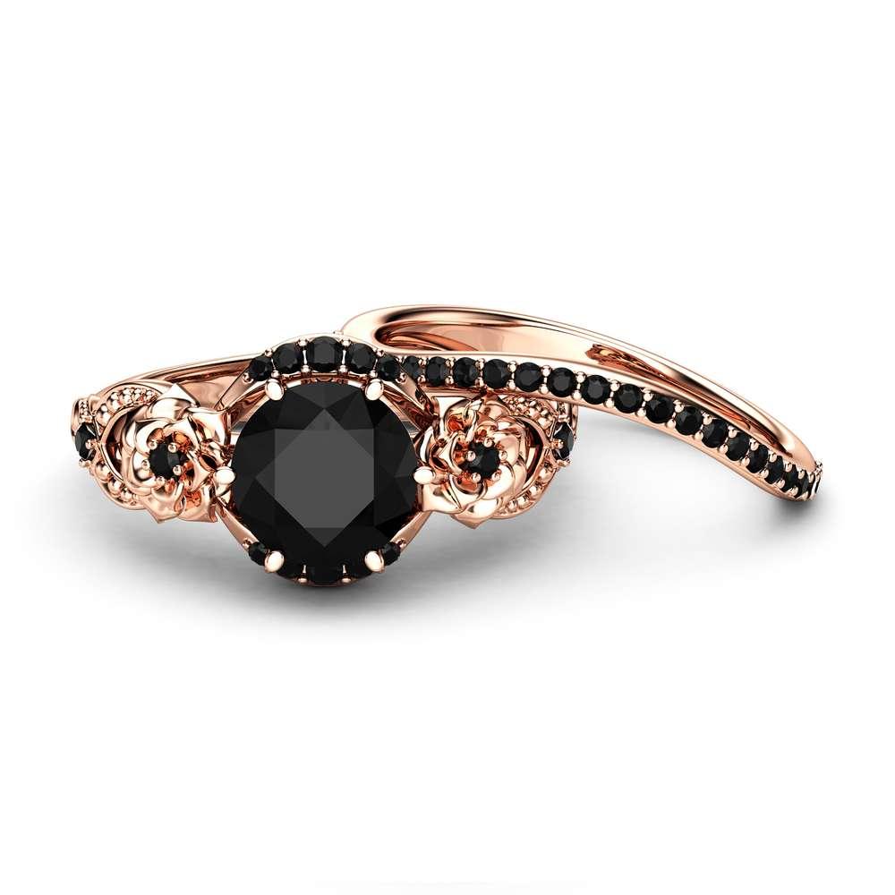 Flower Black Diamonds Engagement Rings 14K Rose Gold Floral Matching Rings Black Diamonds Engagement Ring Set