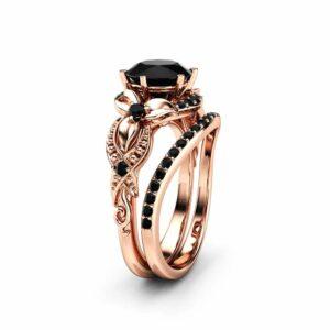 2CT Black Diamond Engagement Ring Set Floral Vintage Matching Rings 14K Two Tone Gold Engagement Rings