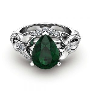 Pear Emerald Engagement Ring Set 14K White Gold Floral Rings Emerald Ring with Matching Diamond Band