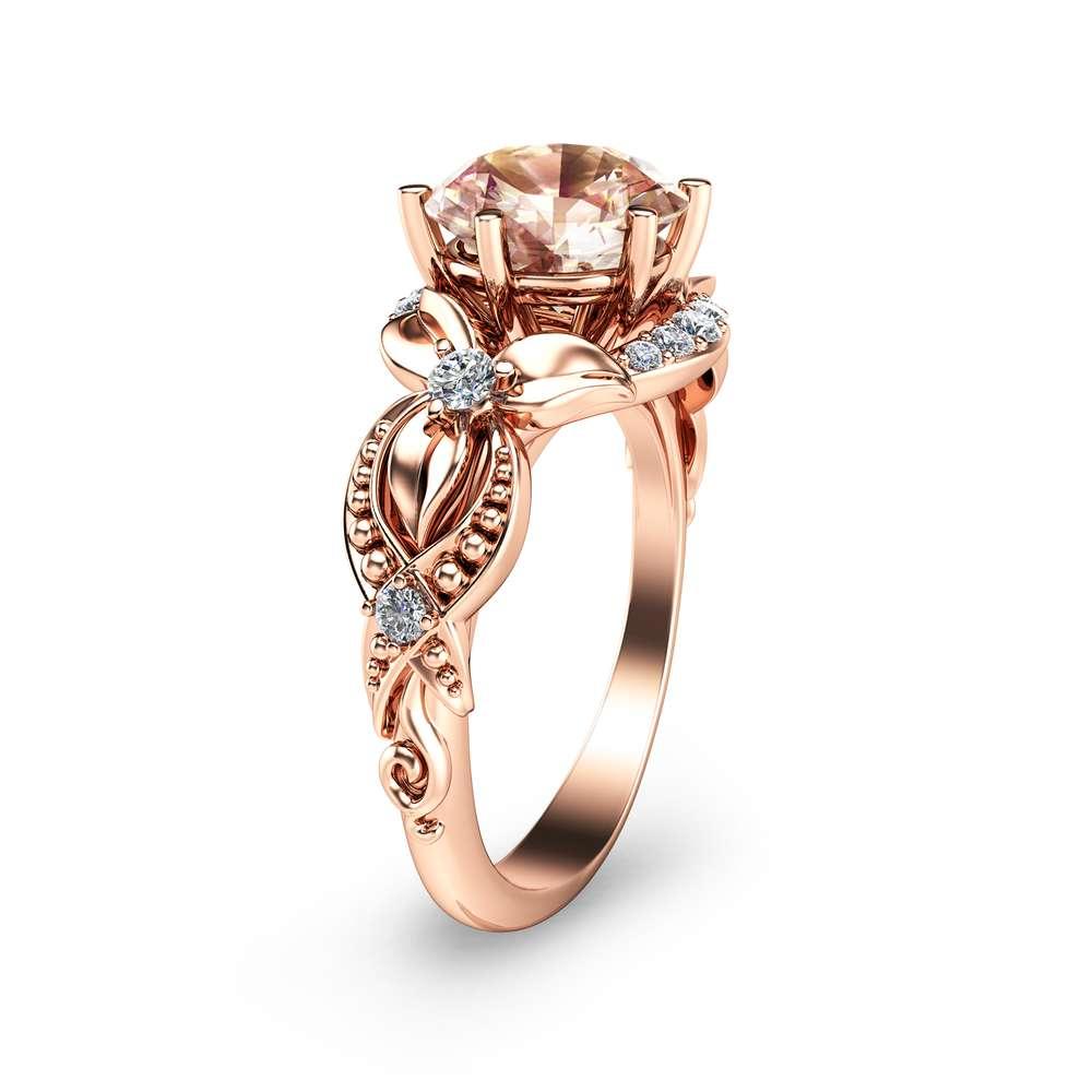 14K Rose Gold Engagement Ring Morganite Ring Filigree Design