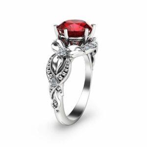 Ruby Ring-14K White Gold Engagement Ring-White Gold Ruby Ring