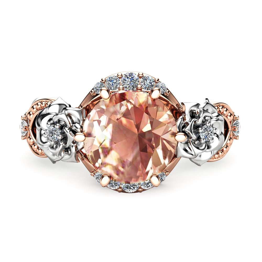 2ct Morganite Floral Engagement Ring 14K Two Tone Gold Engagement Ring Unique Morganite Ring