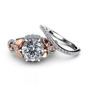 2CT Moissanite Engagement Ring Set Floral Vintage Matching Rings 14K Two Tone Gold Engagement Rings
