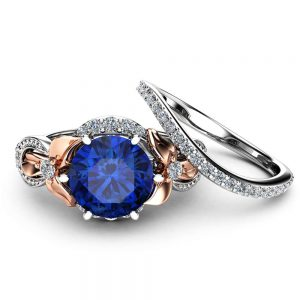 2CT Blue Sapphire Engagement Ring Set Floral Vintage Matching Rings 14K Two Tone Gold Engagement Rings